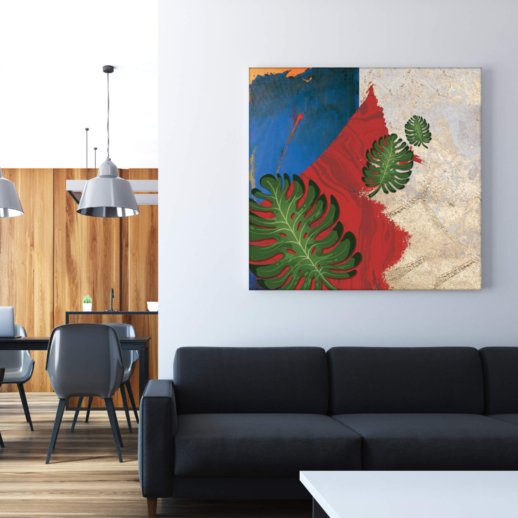 The monstera rustic wall art is a contemporary piece of art sure to pop up